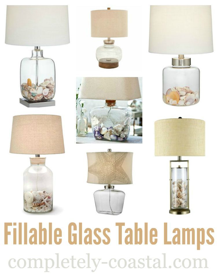Fillable Glass Table Lamps Glass Table Lamp Beach Lamps Shell Lamp