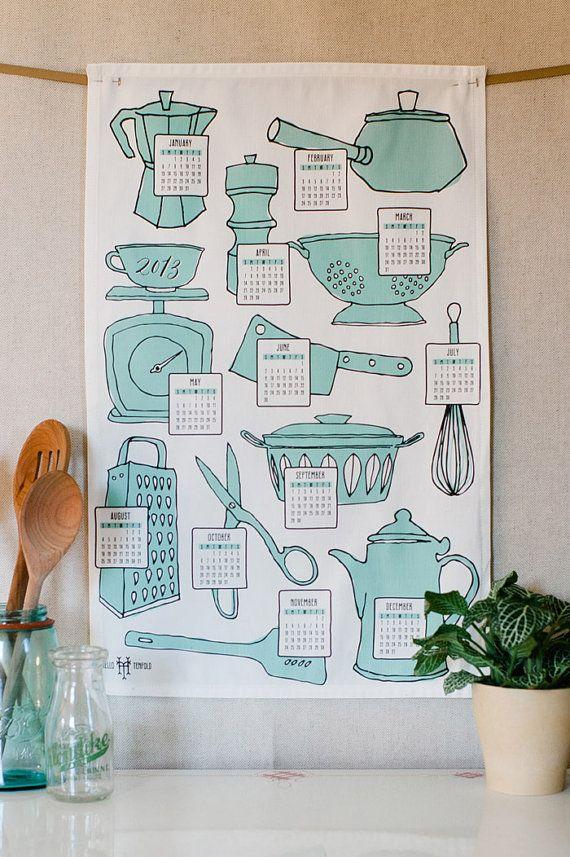 Aqua Retro Kitchen Tea Towel Calendar
