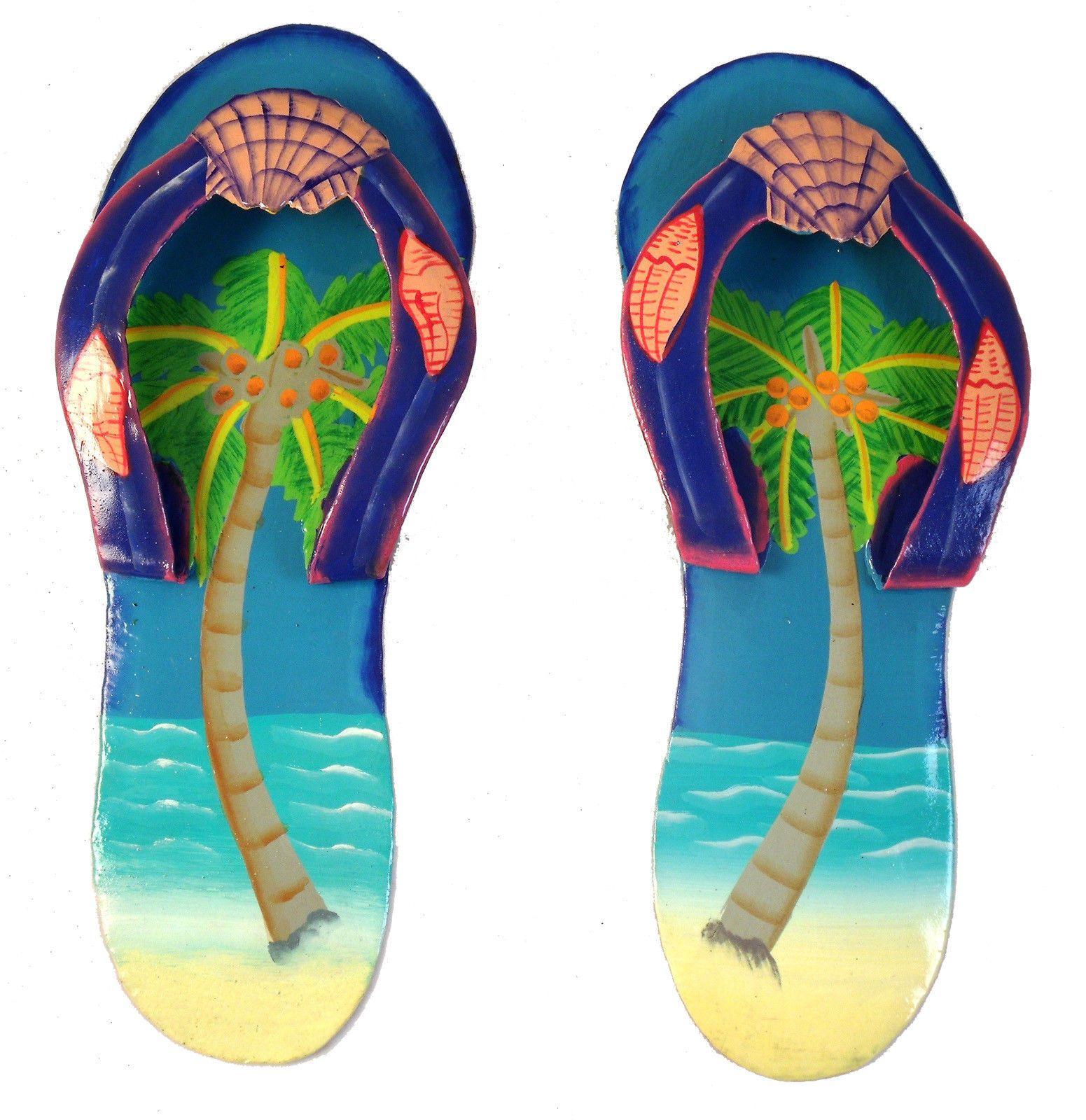Tropical beach flip flop palm tree hatian metal wall decor set