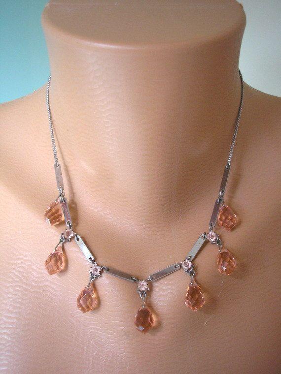 Gatsby Jewelry, Art Deco Crystal Necklace, Vintage Necklace, Blush, Bridal Jewelry, Wedding Necklace, Crystal Bridal Choker, Peach Crystals