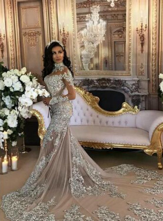 365dab11dc74c Mermaid Wedding Dress Bling, Sheer Wedding Dress, Luxury Wedding Dress, Bling  Wedding,