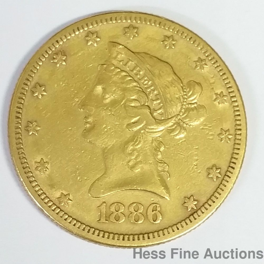 Genuine 1886s 10 Ten Dollar United States Coronet Eagle American Gold Coin Coins Gold Coins Dollar