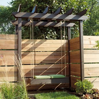 construire un banc suspendu pergola en c dre idee pour. Black Bedroom Furniture Sets. Home Design Ideas