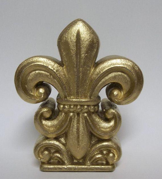 Good Fleur De Lis   Paper Weight   Home Decor   Metallic Gold   Office Decor