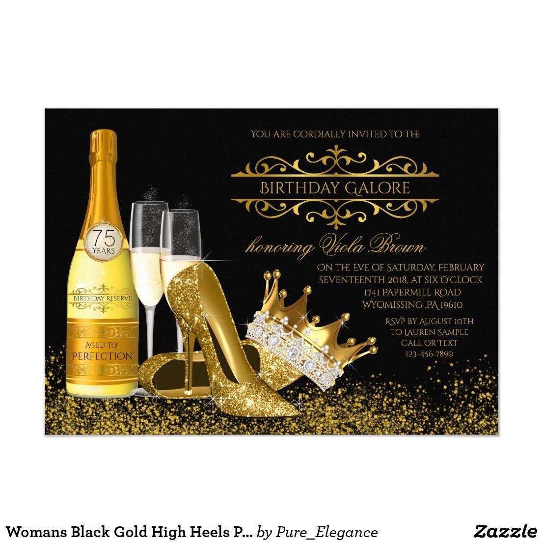 zazzle wedding invitations promo code%0A Womans Black Gold High Heels Princess Birthday Card