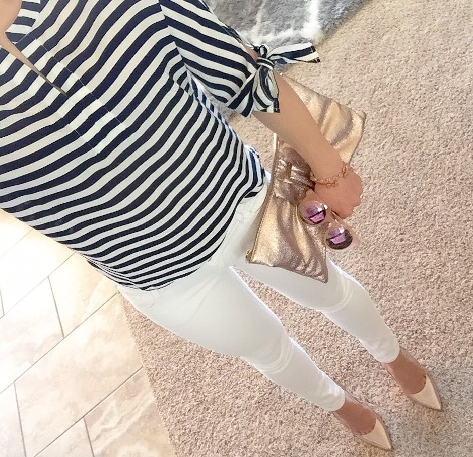 c196a9c8bf33b7 Wearing stripes with rose gold bow clutch and rose gold pumps today these