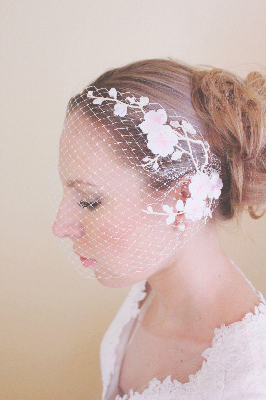 Birdcage Veil, Bridal Veil, Plum Blossom Birdcage Wedding Veil ...