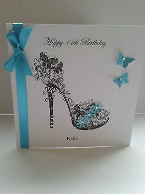 Handmade Mum Sister Daughter 21st 18th Birthday Shoe Card