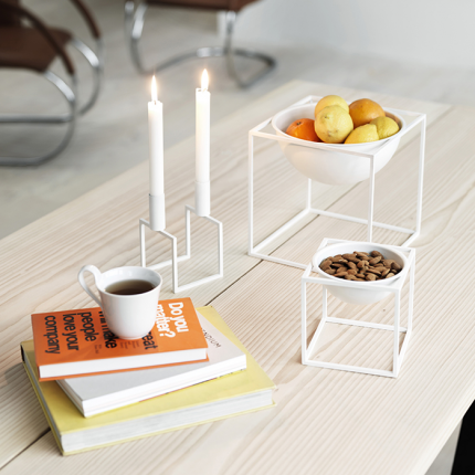 Kubus Bowl Small White Furniture Design Modern Nordic Design Candle Holders