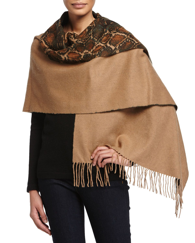 c3b8feb3aa4 Neiman Marcus Reversible Wool Snake-Print Wrap, Teal/Camel (Blue ...