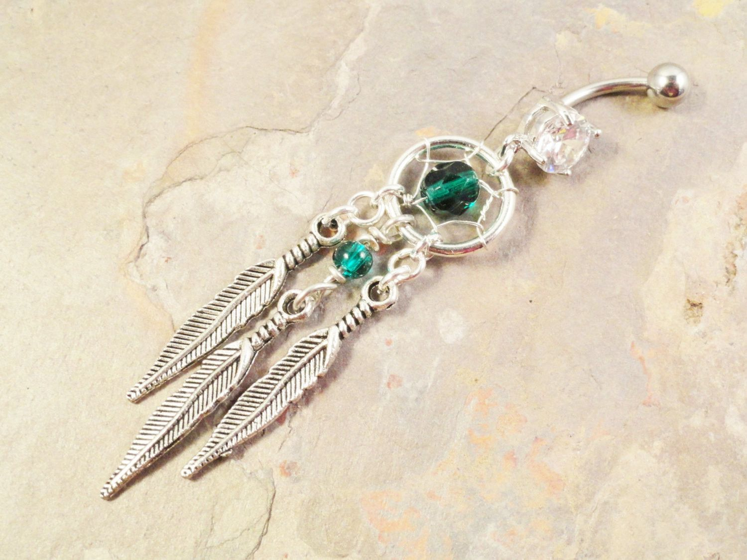 Long belly piercing  Dream Catcher Belly Button Jewelry Ring Beaded Emerald Green Tribal