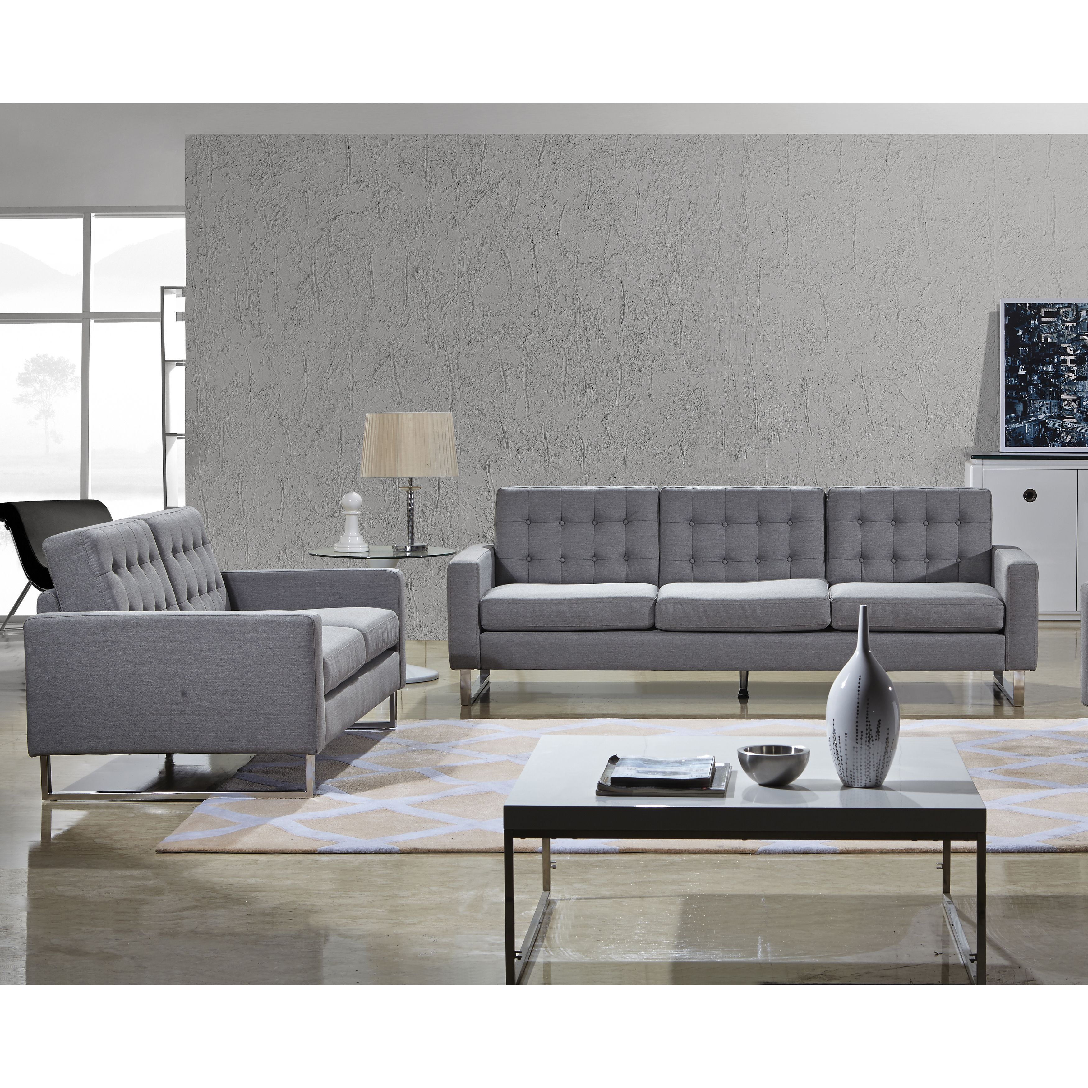 Angela Grey Fabric Modern Sofa And Loveseat Set Overstock Shopping Big Discounts On Living