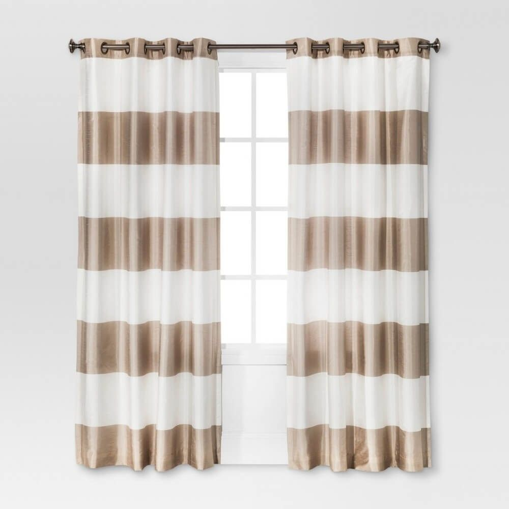 Threshold Light Filtering Curtain Panel Tan Wide Stripe Bold