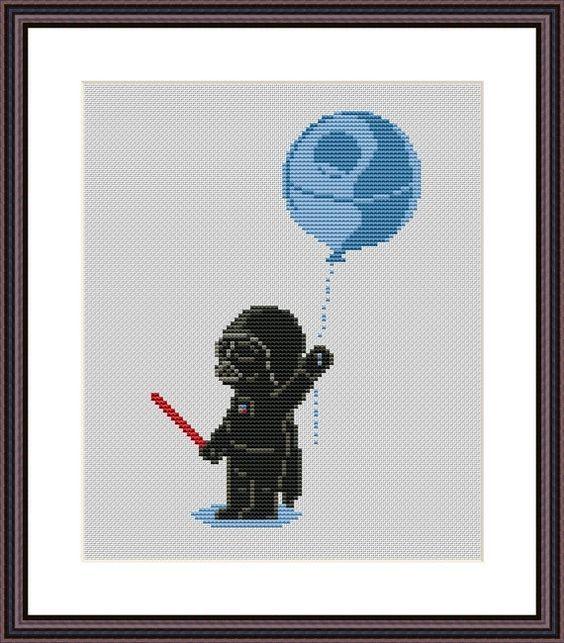 Star Wars Funny Cross Stitch PDF Pattern Darth Vader and Death Star