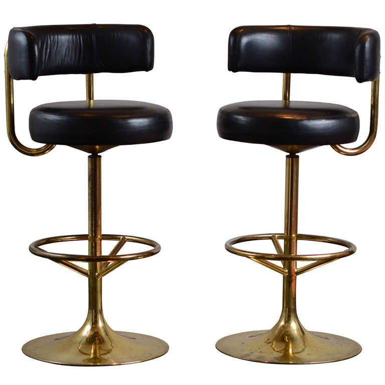 Pair Of Vintage Swivel Brass Bar Stools In 2019