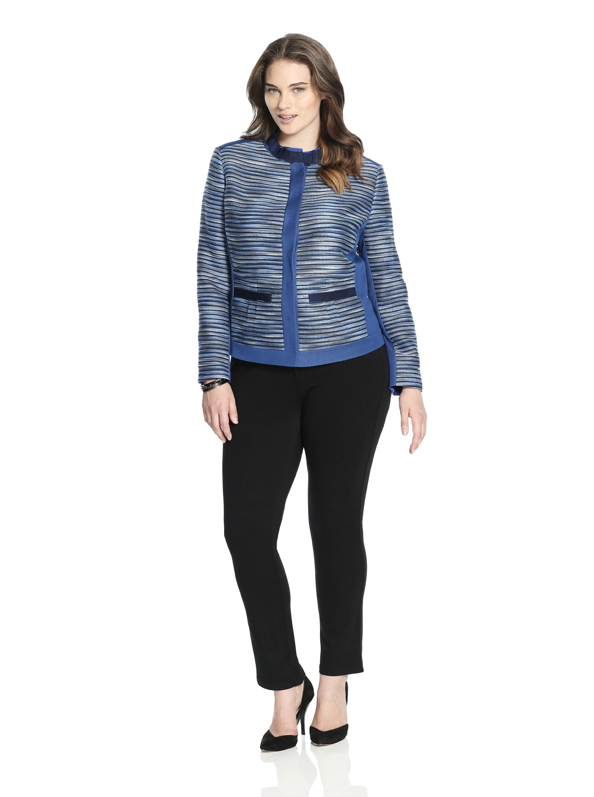 T Tahari Women's Ruby Jacket (Blue) Textured stripe jacket with solid trim, hidden snap closure, stand collar with pleated grosgrain detail, slip pockets, full lining JacketWomen #Outerwear
