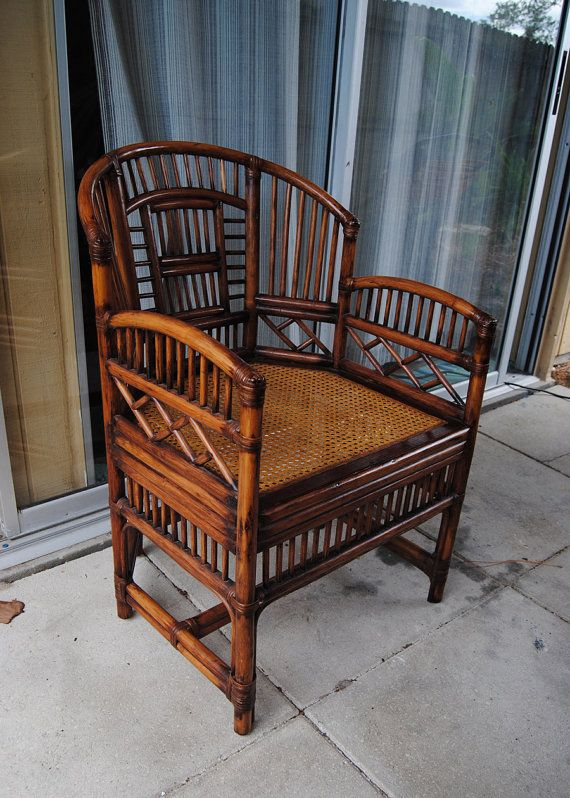 Vintage Brighton Style Rattan Bamboo Chair Asian By Thelanai 160 00 Rattan Dining Chairs Rattan Chair Side Chairs Dining