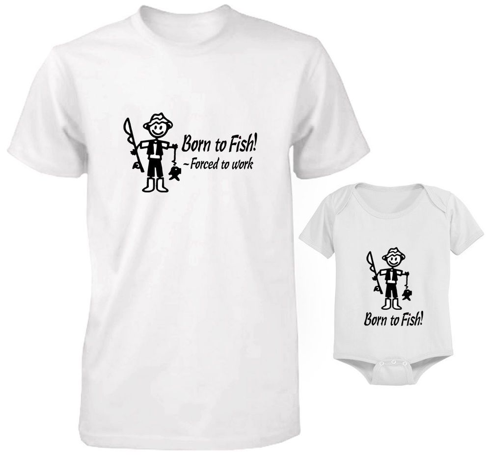 Born To Go Fishing With Daddy Mens T Shirt /& Baby Bodysuit