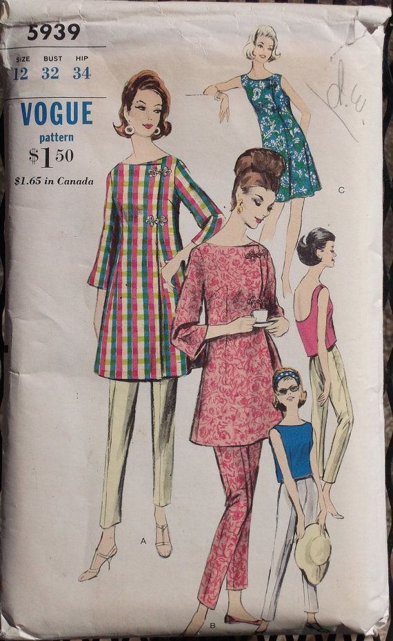 Vogue 5939 1960s Vintage Sewing Pattern Misses Coat, Blouse, and ...