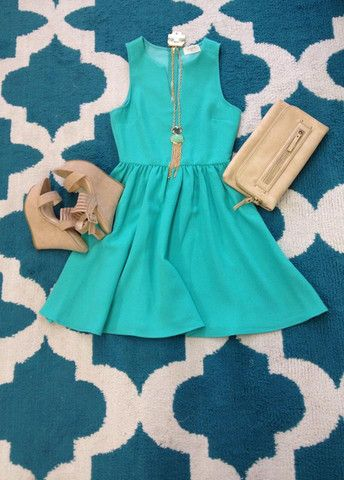 If Only Dress-Mint by EVERLY