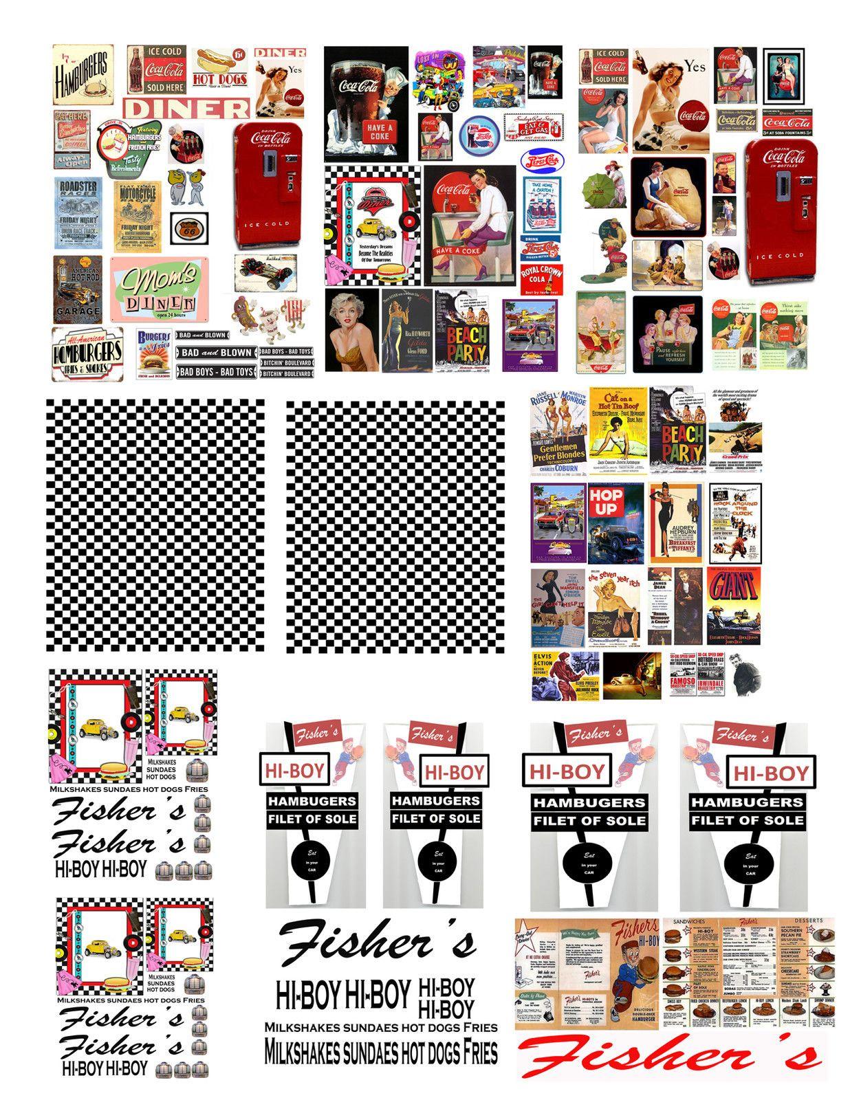 1 43 Decals For Matchbox Small Model Dioramas Diner 10 99 Diorama Paper Models Miniature Printables [ 1600 x 1236 Pixel ]