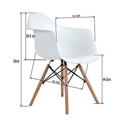 4x Retro Designerstuhl, 4er Esszimmerstühle mit Armlehne - küchenstuhl weiß holz