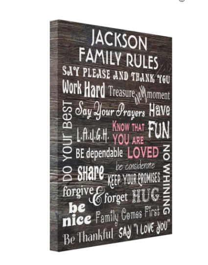Personalized Family Rules Canvas Print Zazzle Com In 2021 Personalized Family Rules Family Rules Wall Art Family Rules