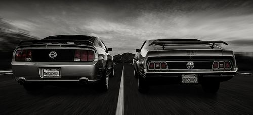 Old and new Mustang