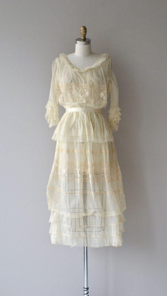 Éphémère dress | antique Edwardian wedding dress | cream lace 1910s ...