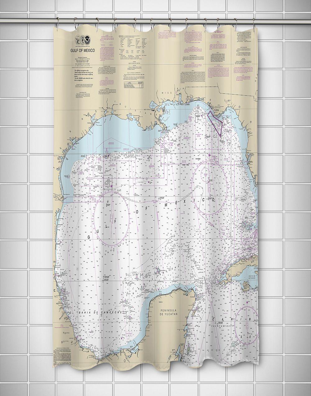 Gulf Of Mexico Nautical Chart Shower Curtain Nautical Shower