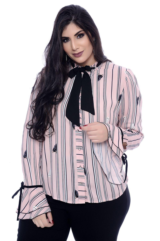 383009251d Camisa Plus Size Laço Gatinho