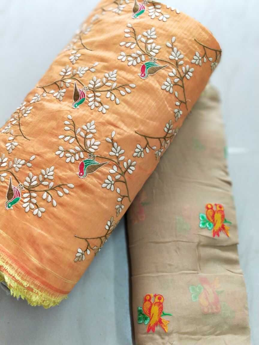 Georget saree with designer blouse with birds embroidery dipak