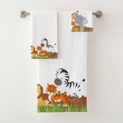 Cute Jungle Baby Animal Bath Towel Set Zazzle Com Bath Towel