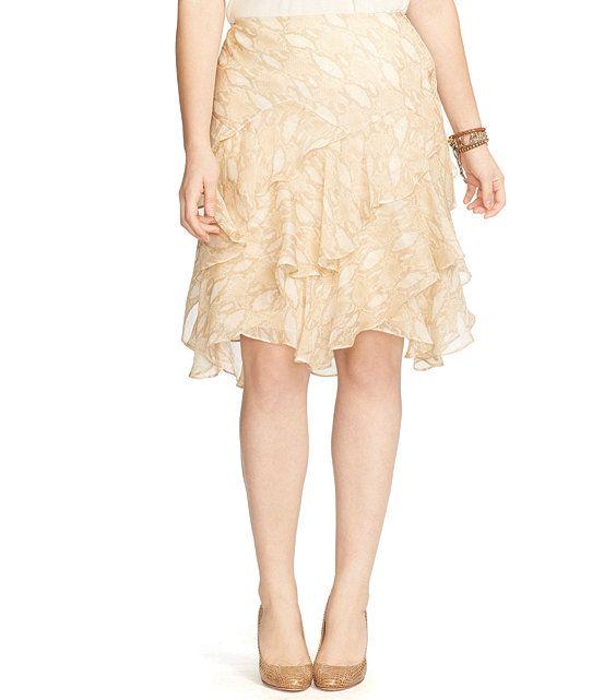 Lauren Ralph Lauren Plus Python-Print Ruffled Skirt