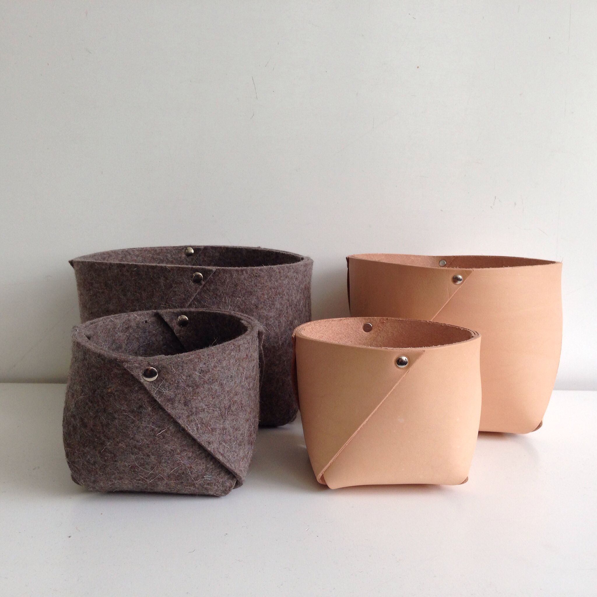 Leather And Wool Felt Containers Named West From Rowold Vegetable