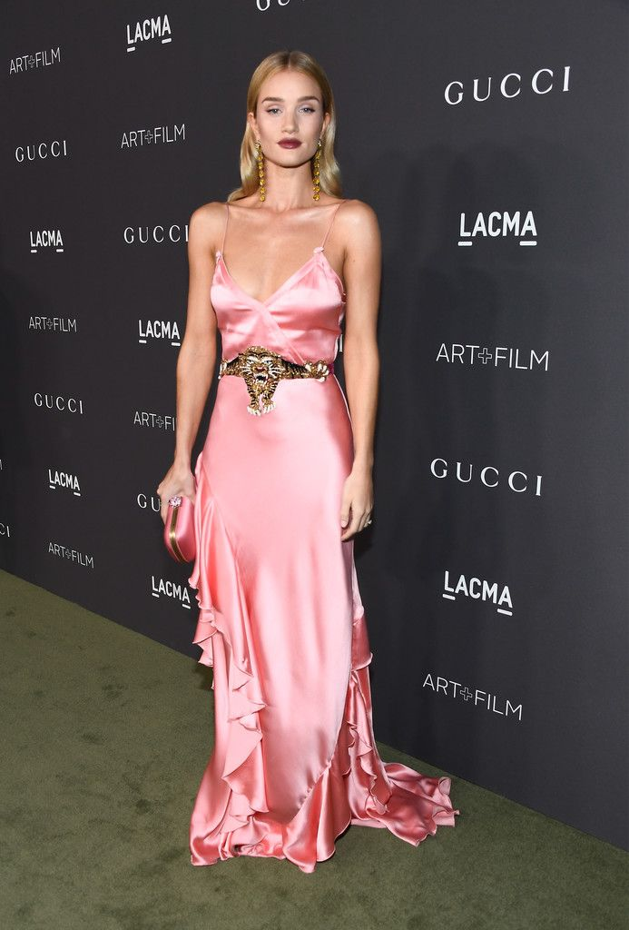 Rosie Huntington-Whiteley in a satin pink Gucci gown - Best Dressed at the  2016 LACMA Art + Film Gala - Photos 998d29d4bf239