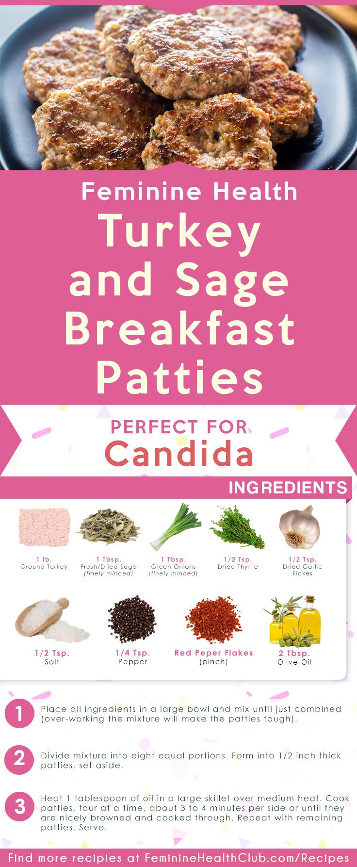 Easy Recipe for Turkey and Sage Breakfast Patty Recipe For Candida. That will help…