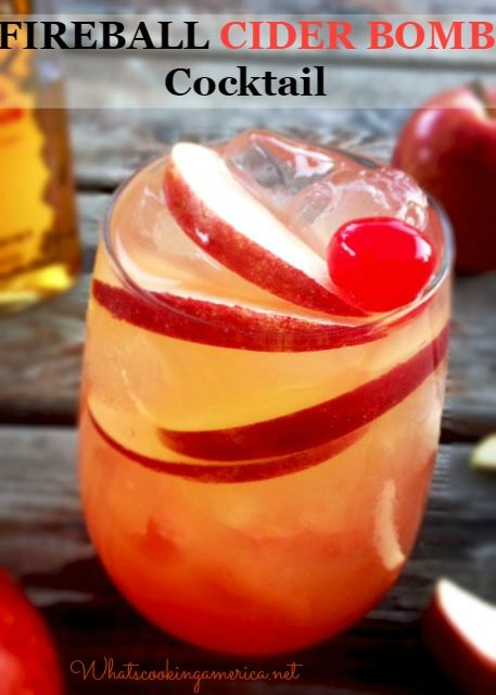 Fireball Cider Bomb Cocktail Ice Cubes (approximately 4 or 5 ice cubes) 2 ounces Fireball Cinnamon Whiskey 3 ounces apple cider Apple slices #fireball