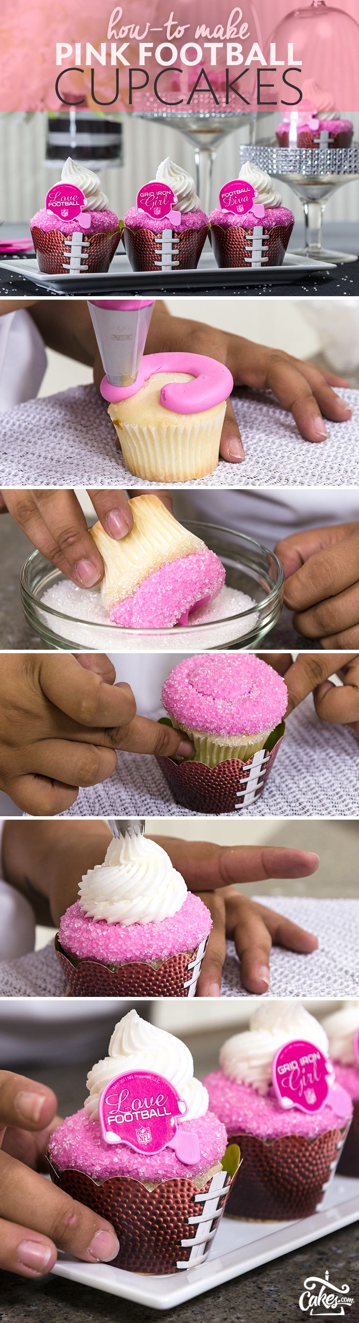Calling all Football Divas Add a feminine touch to your football-themed party with pink NFL football cupcakes. They're simple to make and turn a fantasy football draft or tailgate into a classy affair.
