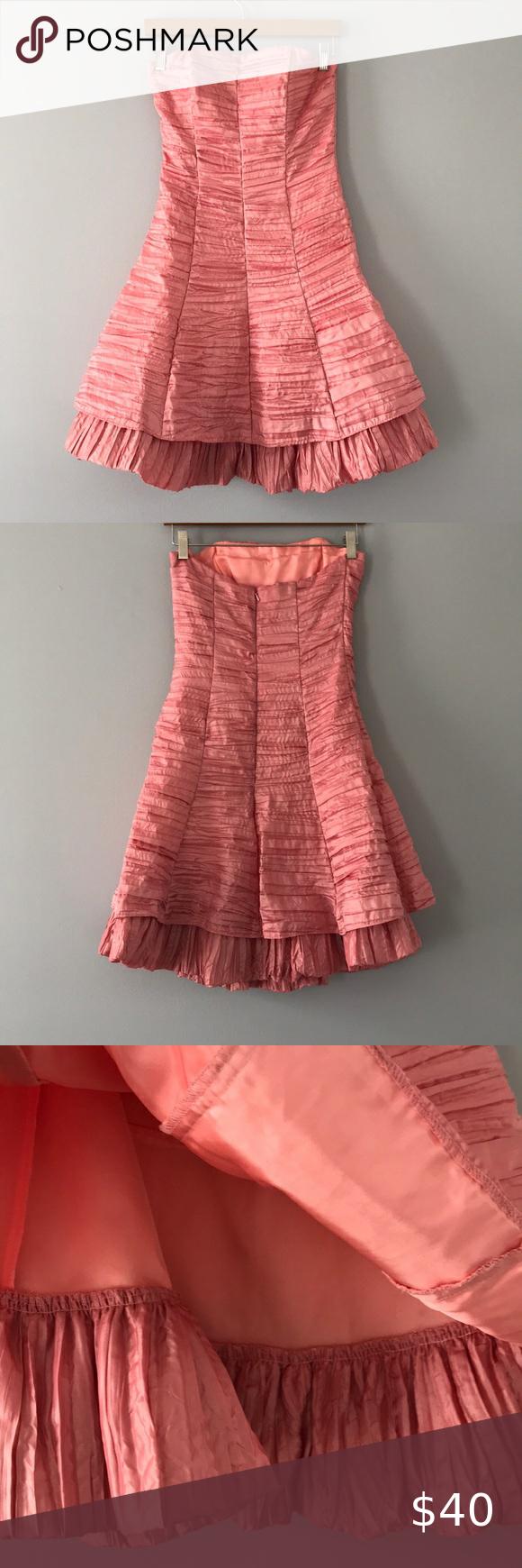 Jessica Mcclintock Vintage Ruffle Cocktail Dress Fit And Flare Dress Strapless Ruffle Dress Cocktail Dress [ 1740 x 580 Pixel ]