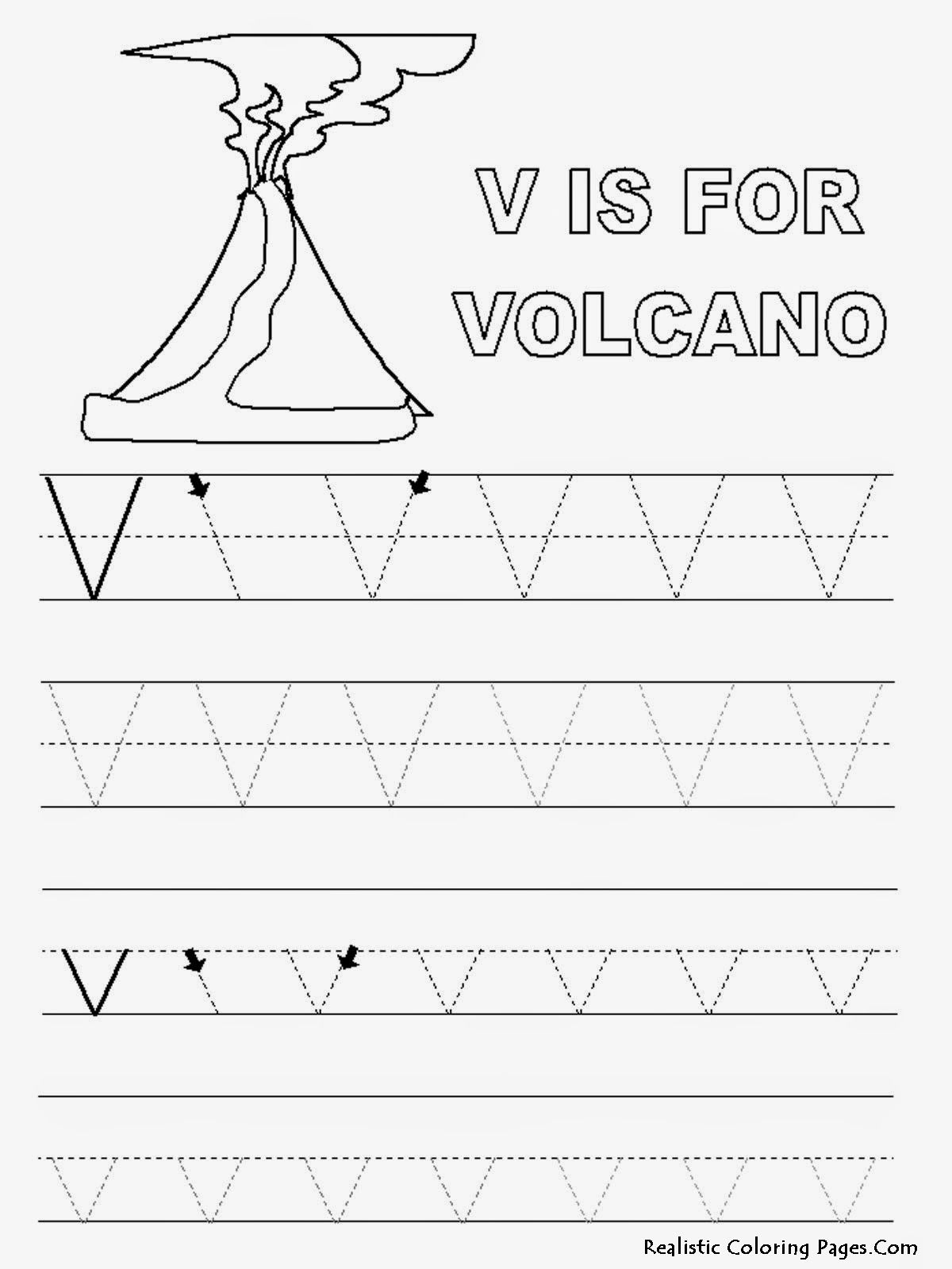 V Is For Volcano Coloring Page Alphabet-Tracer-Pages-...