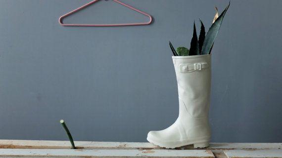 White Ceramic Sculpture Rain Boot , Flower Vase , Anniversary Gift , Unique Gift , Modern Home Decor , Ceramics Pottery , SCULPTUREinDESIGN