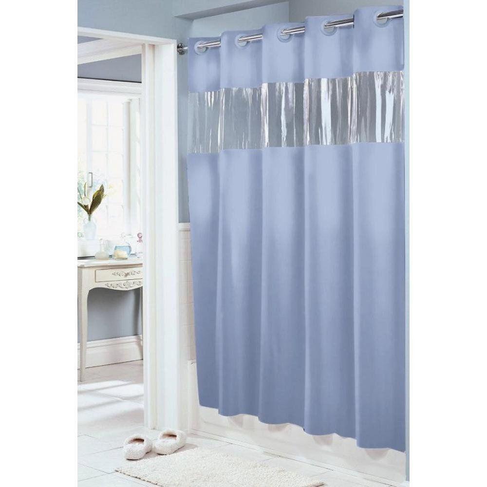 Hookless Vision Blue Peva Shower Curtain Hookless Shower Curtain