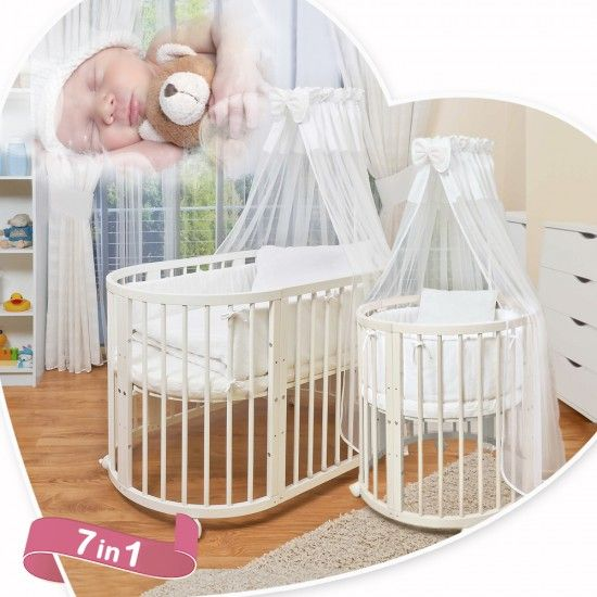 comfortbaby smartgrow 7 in 1 ovales babybett kinderbett wei baby girl nursery pinterest. Black Bedroom Furniture Sets. Home Design Ideas