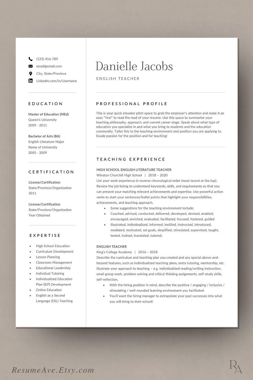 Professional teacher resume template Word design cv