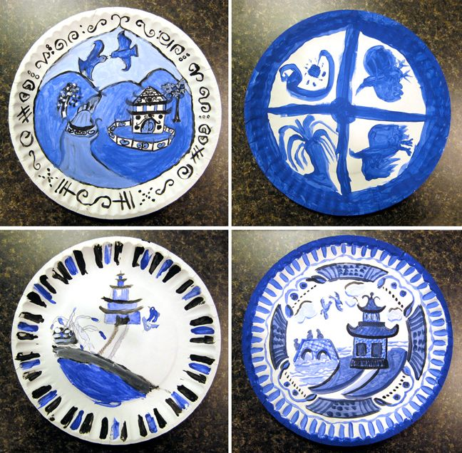Blue Willow Plates In Tempera Art Lessons Art Classroom Art