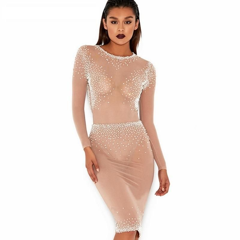 Sexy mesh see through long sleeve nude beige pearl backless fashion  celebrity gown party dress b271e9d5c38e
