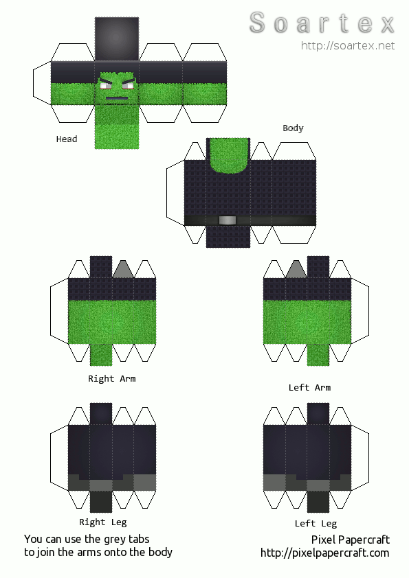 Papercraft Zombie Soartex Fanver V2 8 4 Minecraft