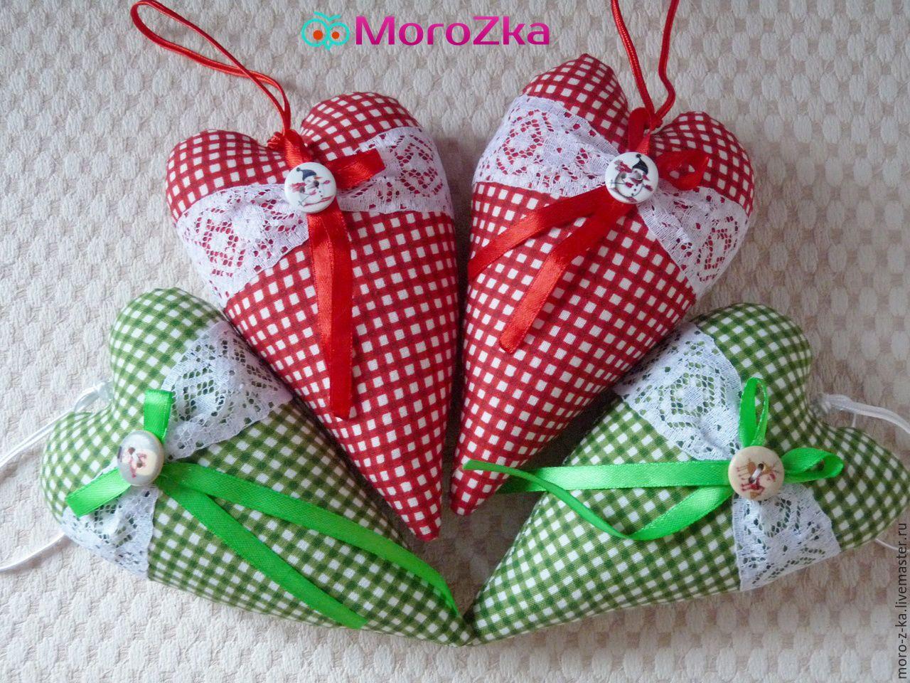 Купить Текстильные подвески сердечки - сердце, текстильное украшение, текстильная подвеска, сердце тильда