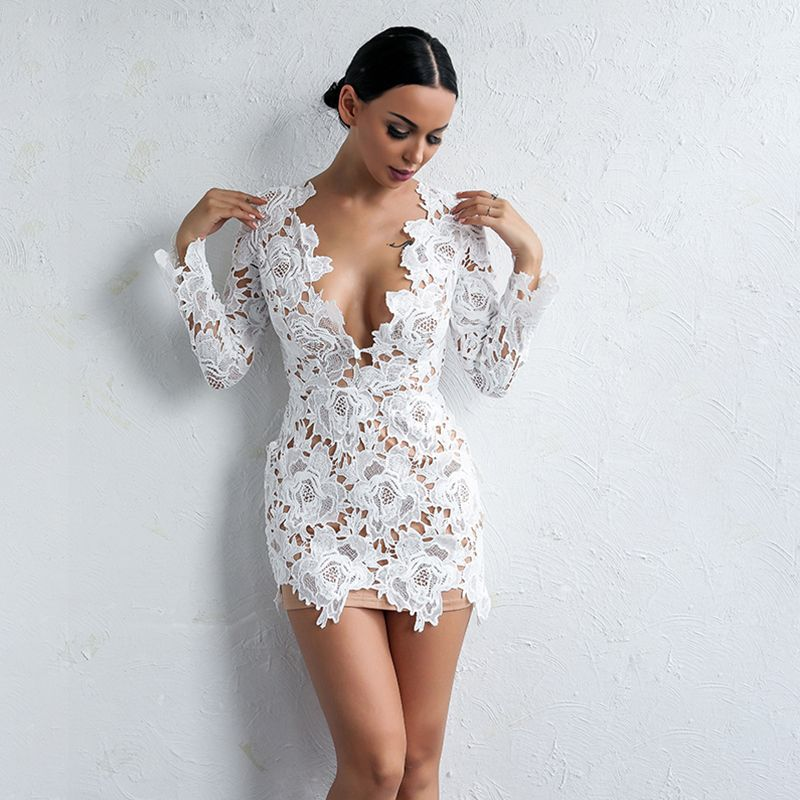 Yissang women lace dress white sexy ladies hollow out long sleeve V neck  elegant above knee dresses vestidos wholesale-in Underwear from Mother    Kids on ... 7825dd740d3d